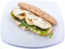 Baguette with egg foam, camambert and apple chips