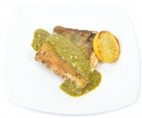 Grill bass with green pesto