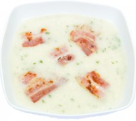 Cauliflower soup with bacon chips