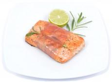 Rosemary salmon steak rolled in parma ham