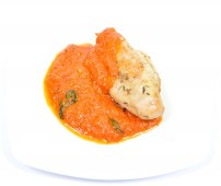 Grill chicken breast with tomato and basil