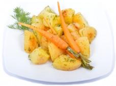 Dill potatoes with honey carrots