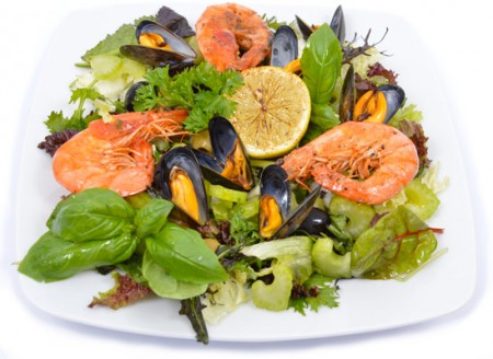 Garnélás feketekagyló saláta
